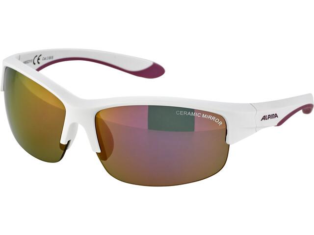 Alpina Flexxy HR Gafas Jóvenes, white matt-purple/pink mirror
